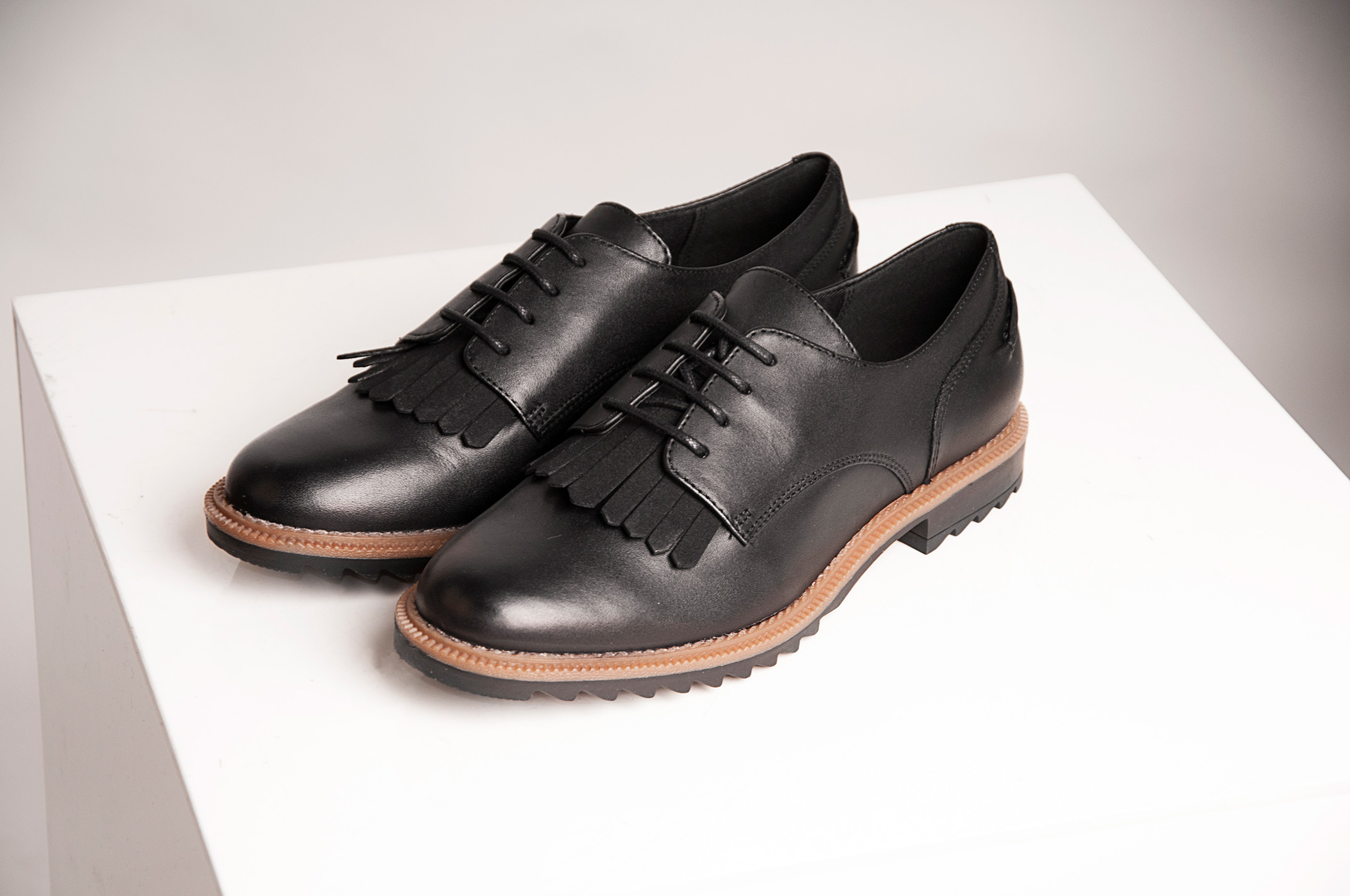 Fringed Lace Up School Shoes