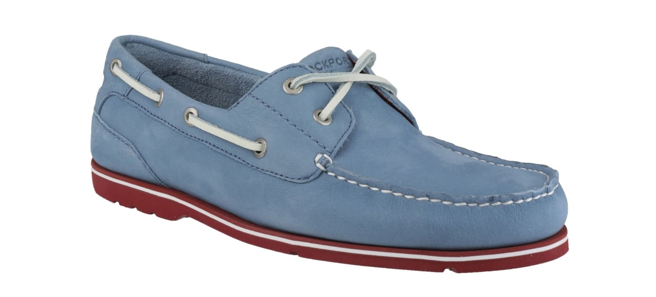 Mens White Rockport Boat Shoes
