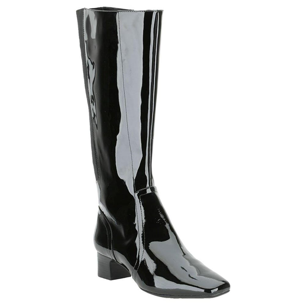 Womens Via Spiga knee high black snakeprint patent leather boots/ shoes SZ M See more like this New Listing NAOT BLACK PATENT LEATHER WOMEN'S SIDE ZIP ANKLE BOOTS/SHOES - SIZE 39/US 8 Pre-Owned.