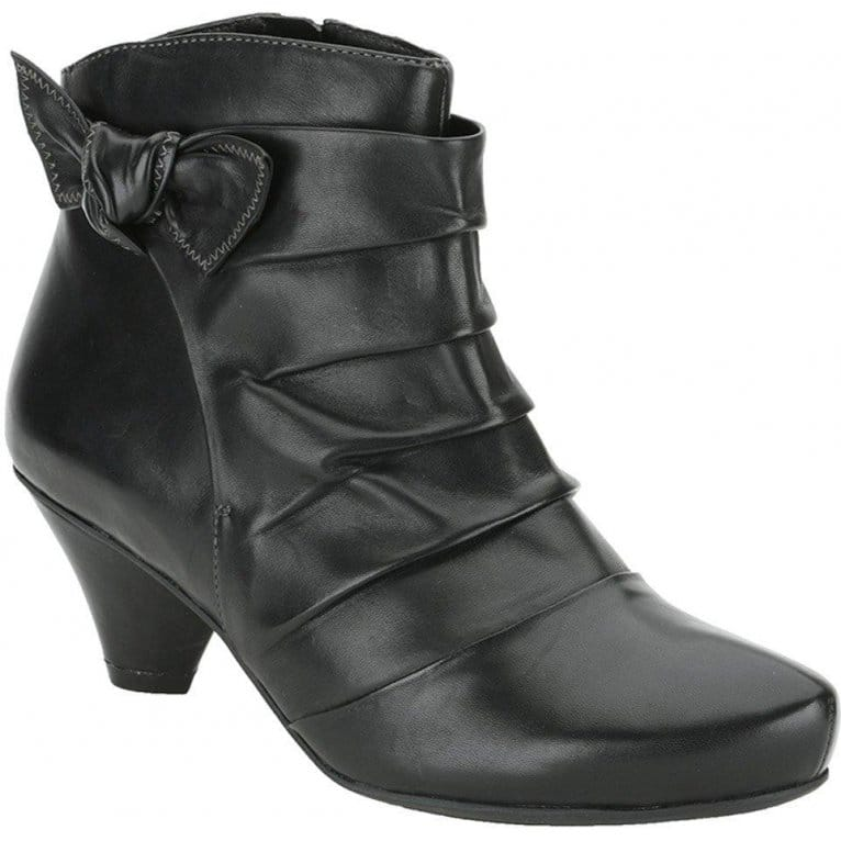 clarks krista azure black leather ankle boots