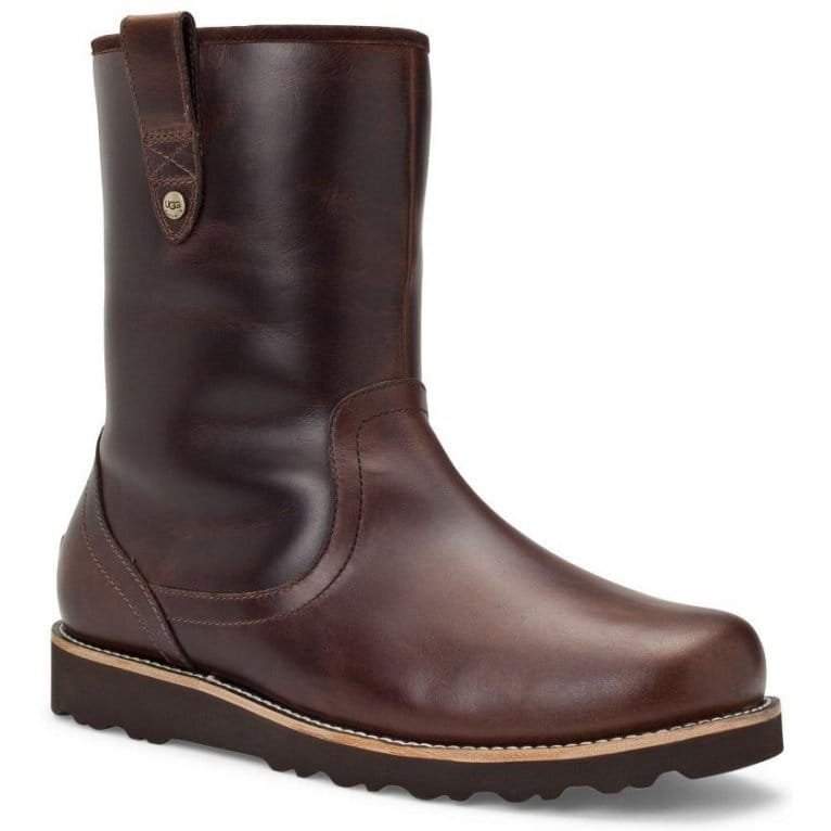 ugg australia stoneman mens pull on brown leather boots