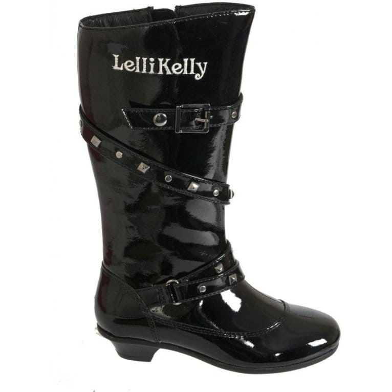 Lelli Kelly Cristal Girls Black Patent Leather Boots