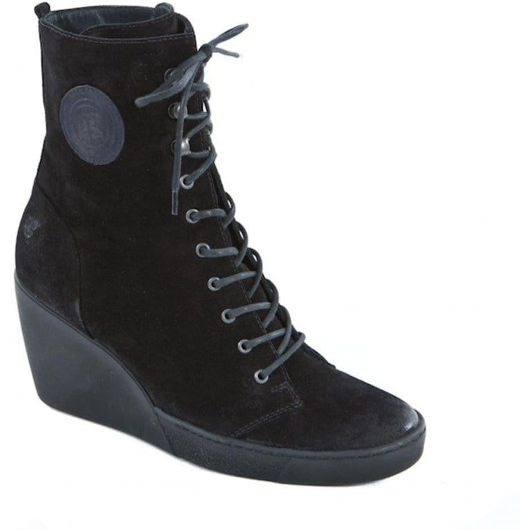 paul green sporty lace up wedge heel ankle boots