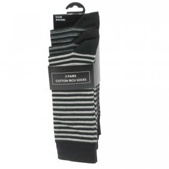 Mens' Grey and Black Stripe Socks