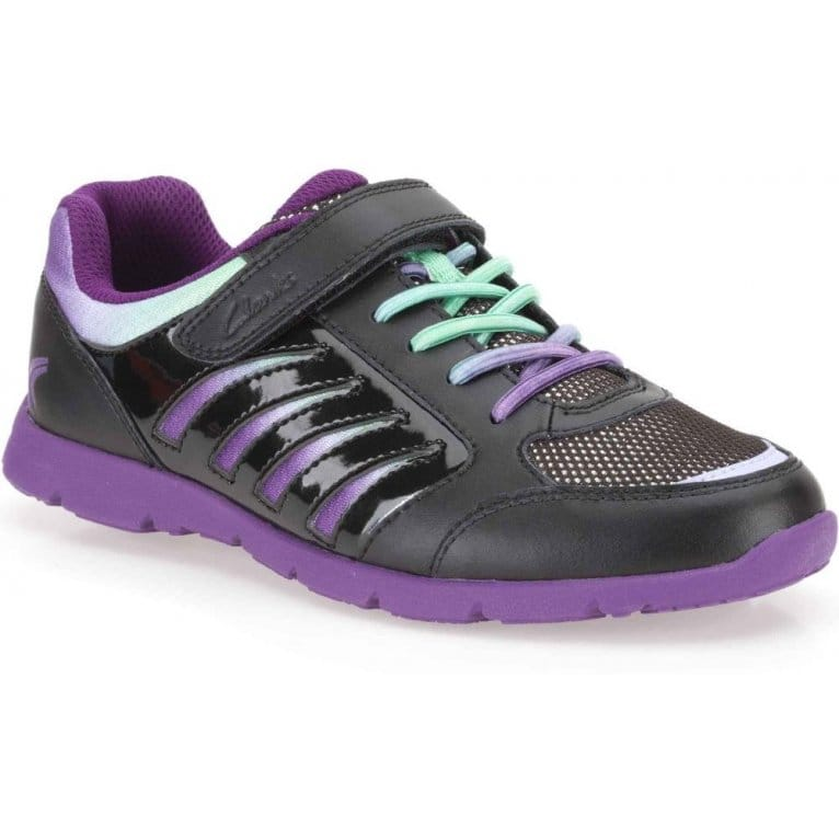 Prance Win Junior Girls Black Leather Trainers