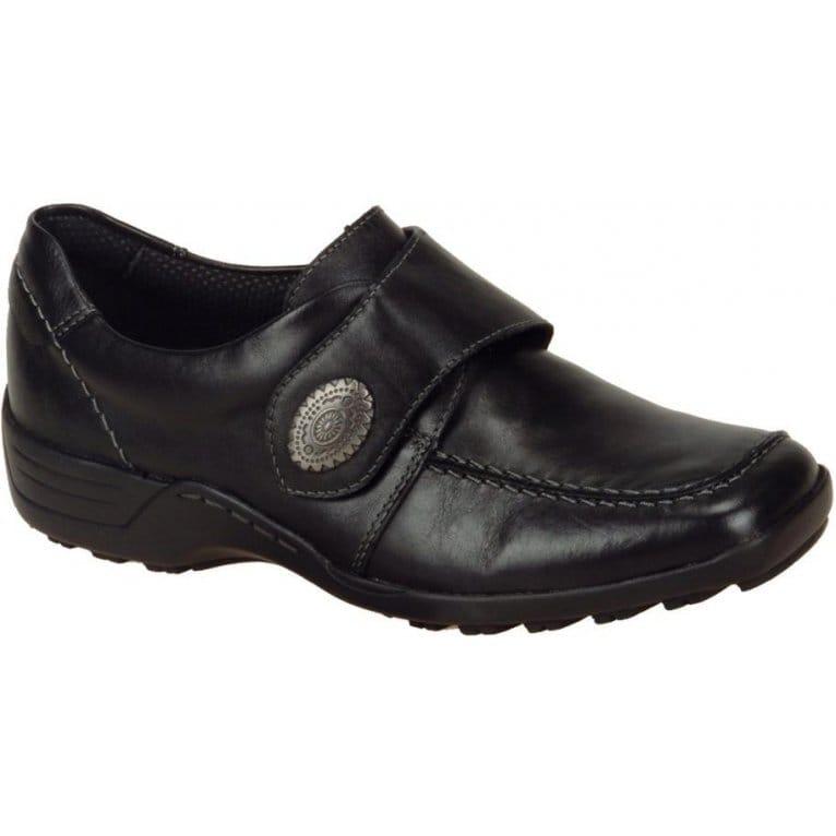 Bennett Ladies Black Leather Slip On Shoe D0500