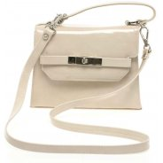 Beige Crackle Patent Handbag