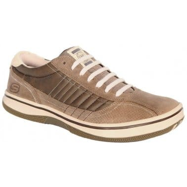Skechers Piers Brown Leather Casual Mens Shoes