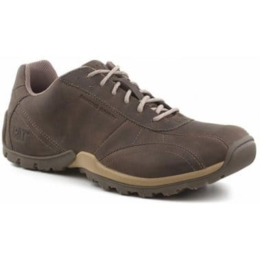 CAT Jolt Dark Brown Lace-up Mens Leather Trainers