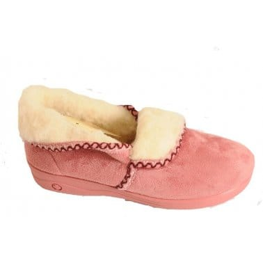 Celia Sheepskin and Faux Fur Lined Ladies Slipper