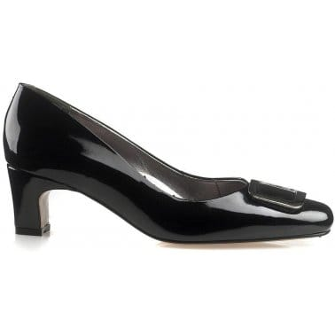 Van Dal Joliette Black Patent Wide Fit Court Shoes