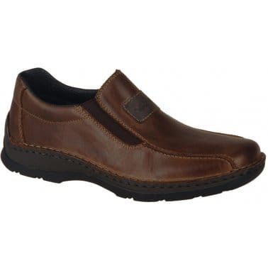 Rieker Artus Mens' Slip on Brown Leather Shoes