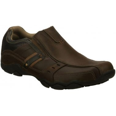 Skechers Garzo Mens Brown Leather Casual Slip On Loafers