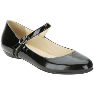 Clarks Frothy Soda Ladies Black Patent Flat Pumps