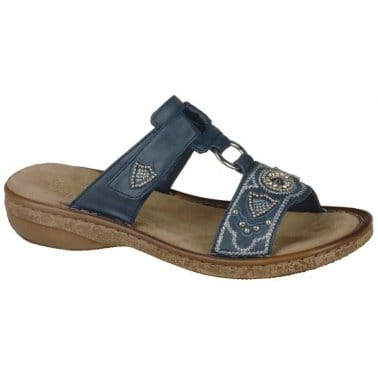 Rieker Glint Denim Jewel Trim Sandals