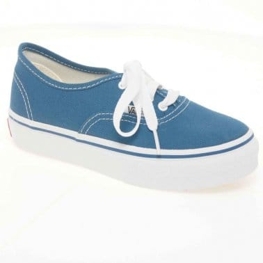 Vans Authentic Canvas Junior Navy Lace Up Kids Shoes