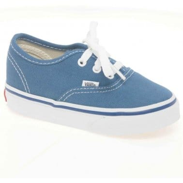 Vans Authentic Canvas Toddlers Blue Lace Up Shoes