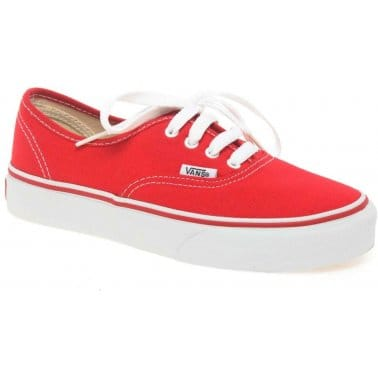 Vans Authentic Canvas Junior Red Lace Up Shoes