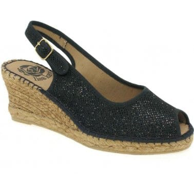 Lisa Kay Clarice Glitter Sling Back Wedge Womens Shoes