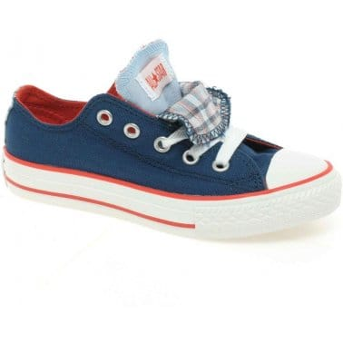 Converse Junior All Star Double Tongue Navy Plaid Canvas Lo-Tops