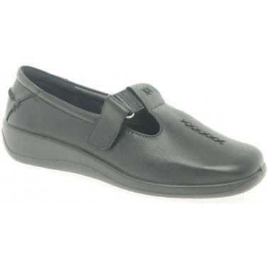 Hotter Sunset Velcro Fastening Black Leather Womens Shoes
