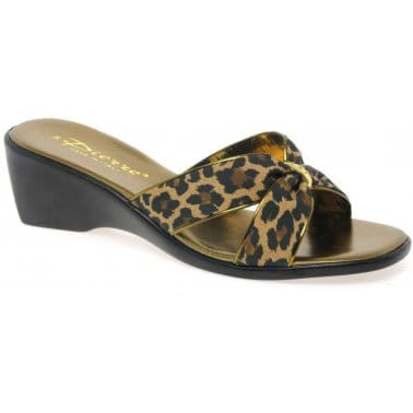 Nuova Emily Leopard Print Wedge Heeled Sandals