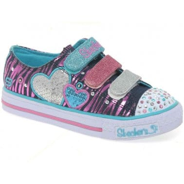 Skechers Tripletime Light Up Velcro Girls Trainers