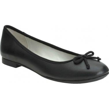 Clarks Carousel Ride Womens Black Leather Ballet Pumps