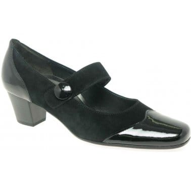 Casino Womens Black Leather Dress Court Shoes