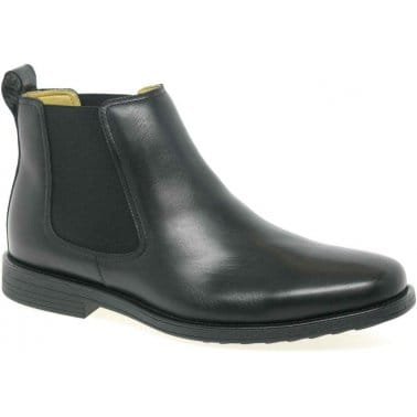 Steptronic Austin Black Leather Formal Chelsea Boots