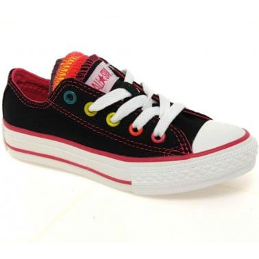Converse Junior Multi Tongue Girls Lace Up Canvas Shoes