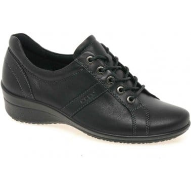Award Lace Up Leather Low Wedge Shoes