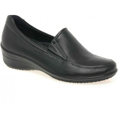Ecco Cordon Classic Leather Ladies Slip On Shoes