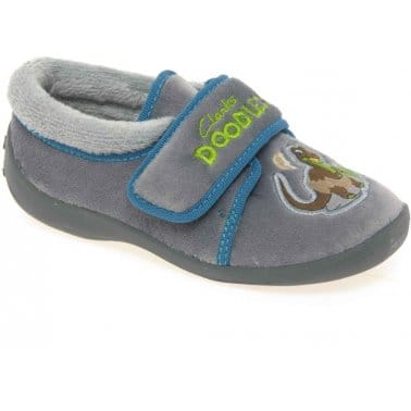 Clarks Saurus Dreams Boys Velcro Fastening Slippers