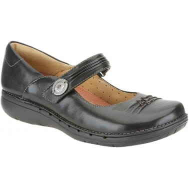 Clarks Un Linda Womens Button Strap Casual Shoes