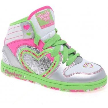 Skechers Heart N Soul Girls Lace Up High Top Trainers