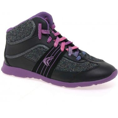 Clarks Prance Girls Lace Up Hi Top Trainers