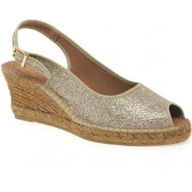 Clarice Glitter Sling Back Wedge Womens Shoes