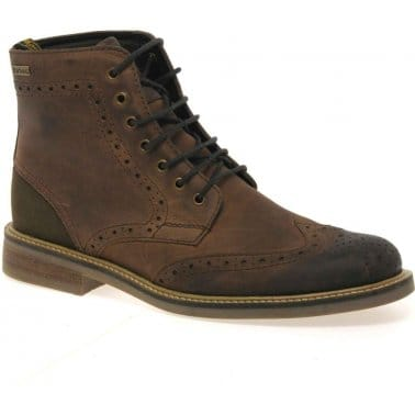 Belsay Mens Casual Lace Up Leather Brogue Boots