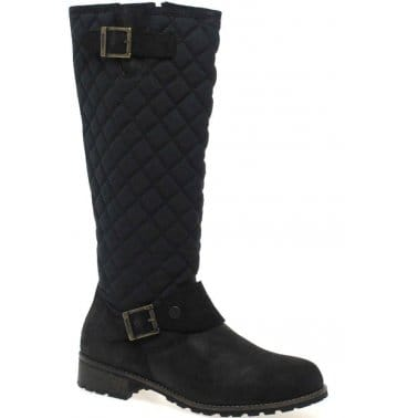 Hoxton Tall Quilted Waxed Suede Boots