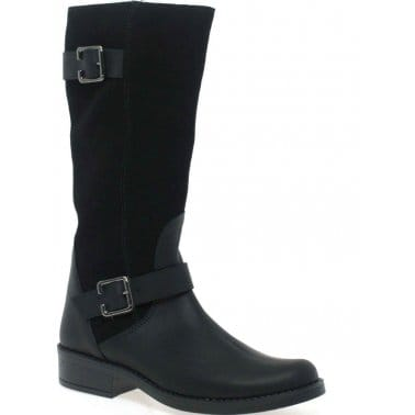 Buckle Girls Long Leather and Suede Boots