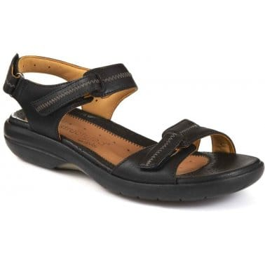 Un Galleon Womens Black Leather Sandals