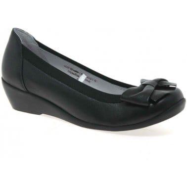 Simone Black Leather Court Shoes