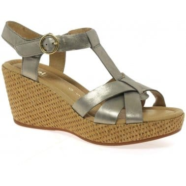 Adeline Bamboo-Effect Wedge Heel Leather Sandals