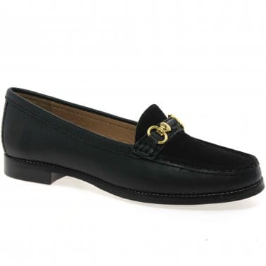 Daltro Womens Leather and Nubuck Gold Trim Loafers