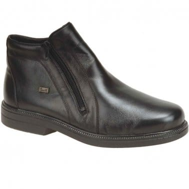 Robin Black Leather Casual Ankle Boots