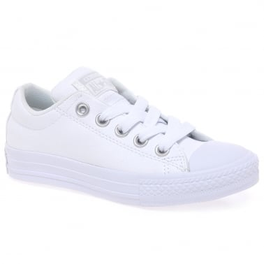 Street Leather White Leather Plimsolls