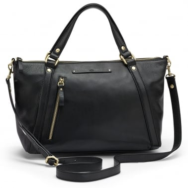 Jenna Womens Black Leather Satchel