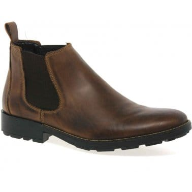 Leo Mens Wide Fit Leather Chelsea Boots