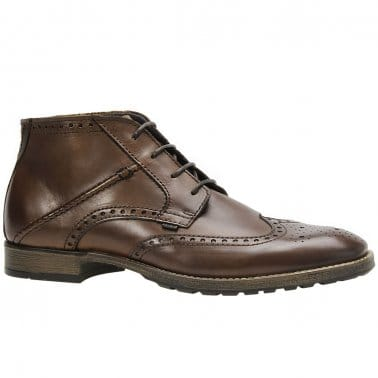 Change Mens Brown Leather Brogue Lace Up Boots